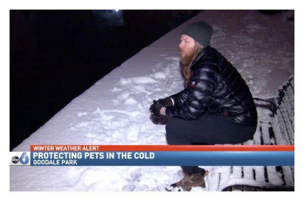 Ohio om de afaceri braves rece pentru animale de companie de familie